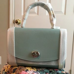 NWT Coach Tilly Top Handle Satchel Aqua